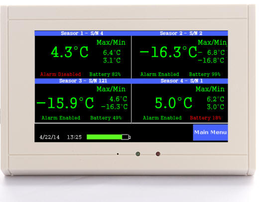 ThermaViewer monitoring four fridges and freezers