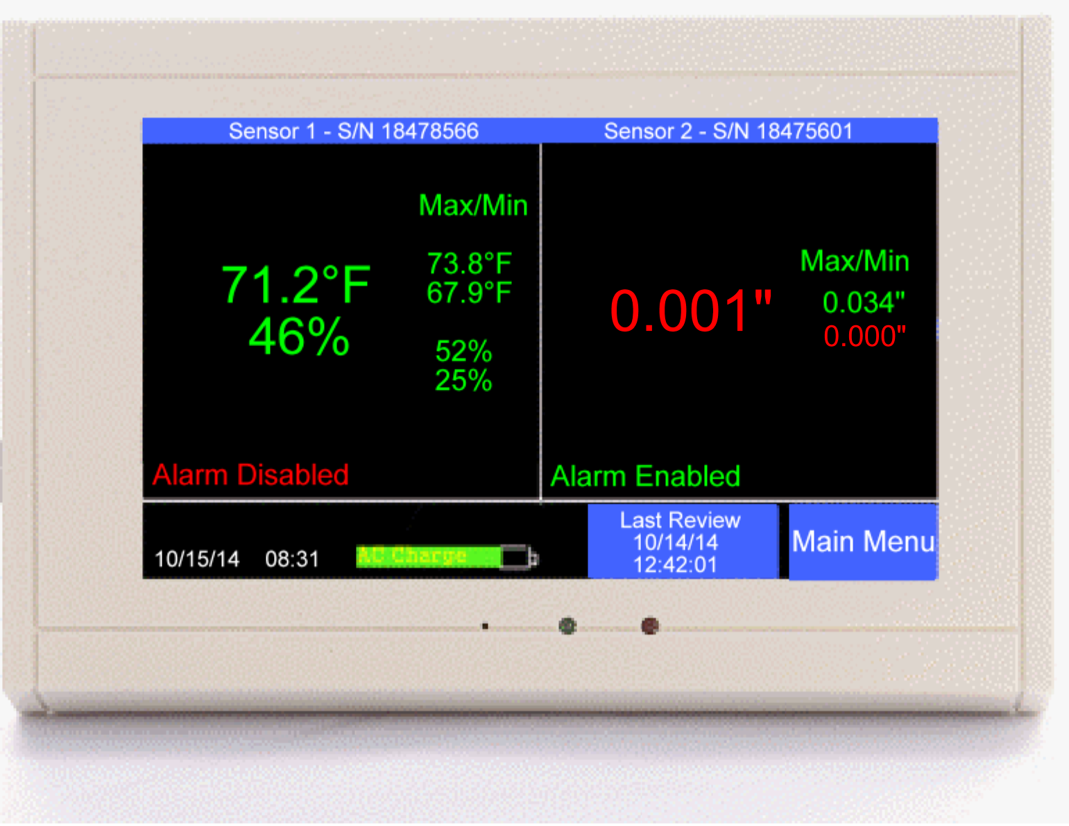 Tv2 Alarm And Log For Refrigerators Freezers Cleanrooms Etc Two Door Buzzer With Display W Pressure Temp Rh